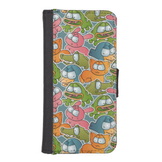 Vintage pattern with cartoon animals iPhone SE/5/5s wallet case