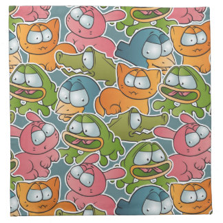 Vintage pattern with cartoon animals napkin