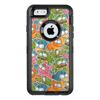 Vintage pattern with cartoon animals OtterBox defender iPhone case