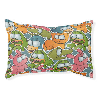 Vintage pattern with cartoon animals pet bed