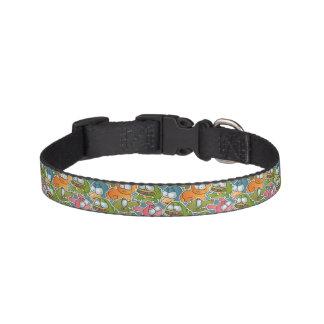 Vintage pattern with cartoon animals pet collar
