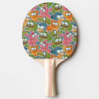 Vintage pattern with cartoon animals ping pong paddle
