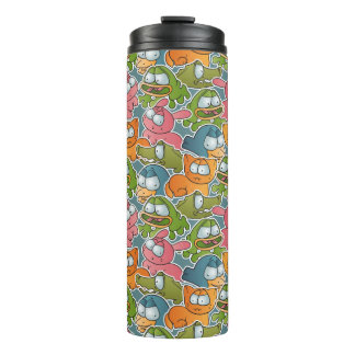 Vintage pattern with cartoon animals thermal tumbler