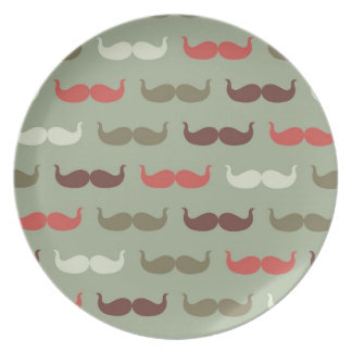 Vintage pattern with mustache dinner plates