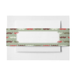 Vintage pattern with mustache invitation belly band