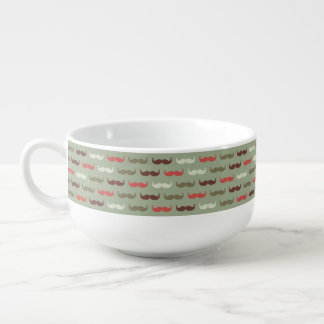 Vintage pattern with mustache soup mug