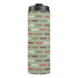 Vintage pattern with mustache thermal tumbler
