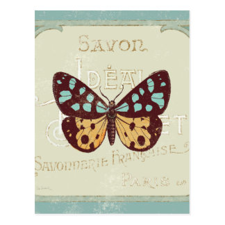 Vintage Patterned Butterfly Postcard