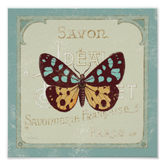 Vintage Patterned Butterfly Poster