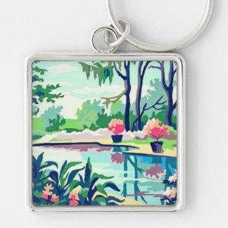Vintage PBN Poolside Scene Pastel Colors Keychain