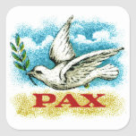 Vintage Peace on Earth Square Stickers