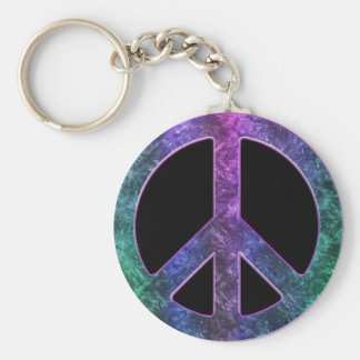 Vintage Peace Sign in Tie-Dye on Black Keychain