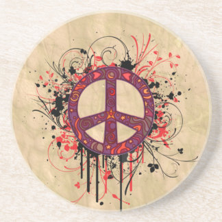 VINTAGE PEACE SYMBOL BEVERAGE COASTERS