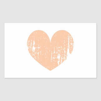 Vintage peach color wedding heart rectangular sticker