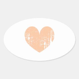 Vintage peach color wedding heart oval sticker