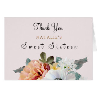 Vintage Peach Floral Sweet 16 Thank You Card