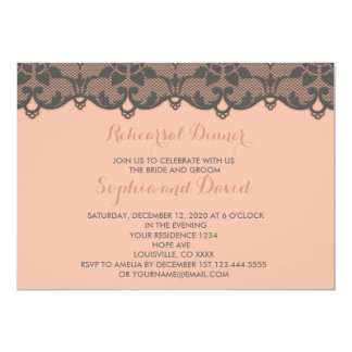 Vintage Peach Grey Lace REHEARSAL DINNER Invite