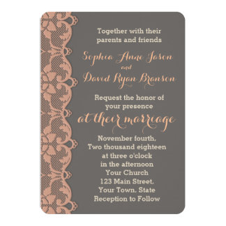 Vintage Peach Grey Lace Wedding Invitation