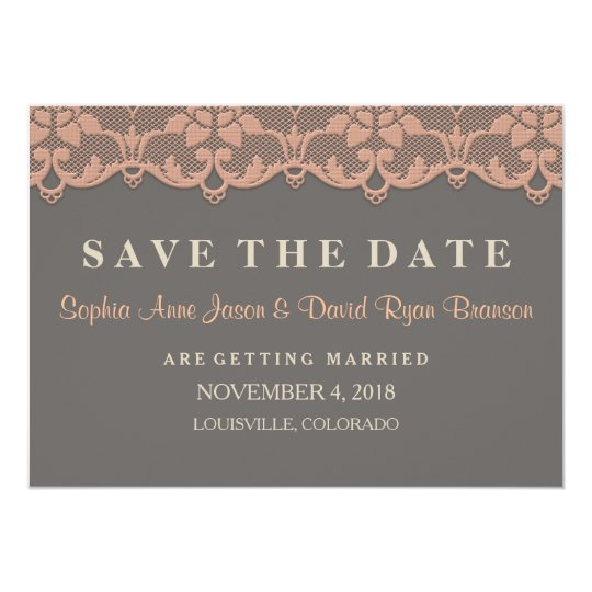 Vintage Peach Grey Lace Wedding SAVE THE DATE