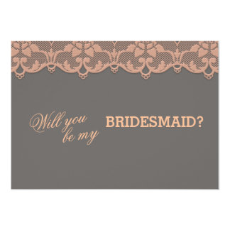 Vintage Peach Grey Lace Will You Be My BRIDESMAID 13 Cm X 18 Cm Invitation Card