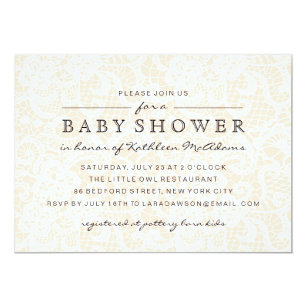 e9cddac7530 Vintage Peach Lace Baby Shower Invitation