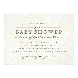 Vintage Peach Lace Baby Shower Invitation