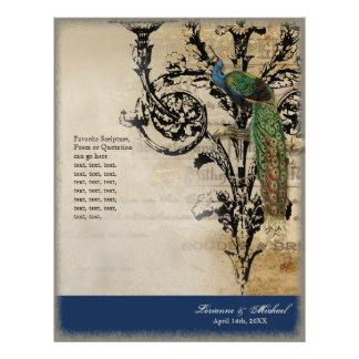 Vintage Peacock 6 - Elegant Ceremony Programs Personalized Flyer