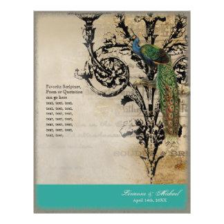Vintage Peacock 6 - Elegant Wedding Program 21.5 Cm X 28 Cm Flyer