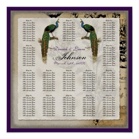Vintage Peacock 6 - Reception Table Seating Chart