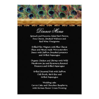 Vintage Peacock 9 Feathers Carved Gold Elegant Invite