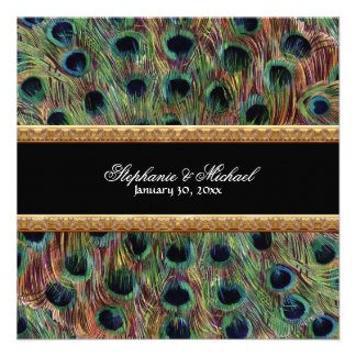 Vintage Peacock 9 Feathers Carved Gold Elegant Personalized Invitations