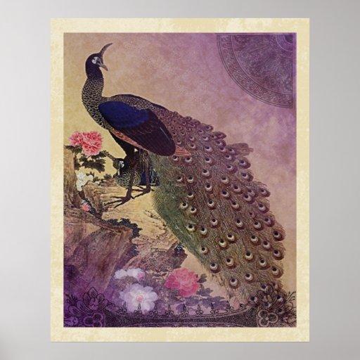 Vintage Peacock and Peonies Japanese Print