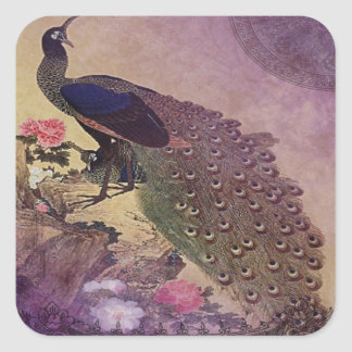 Vintage Peacock and Peonies Japanese Print Square Sticker