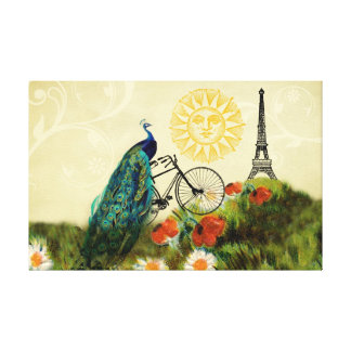 Vintage Peacock Art with Eiffel Tower Canvas Print