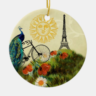 Vintage Peacock Art with Eiffel Tower Christmas Ornament