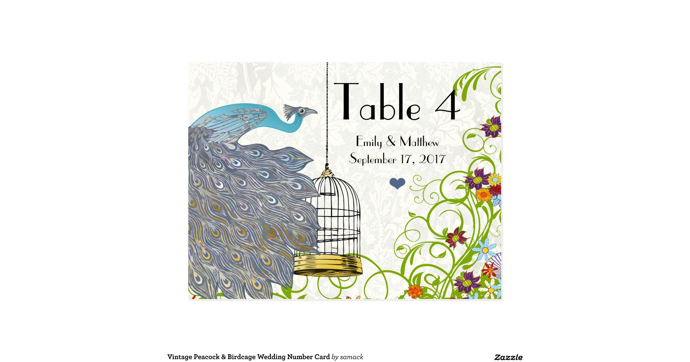 Vintage Peacock & Bird Cage Wedding Number Card | Zazzle