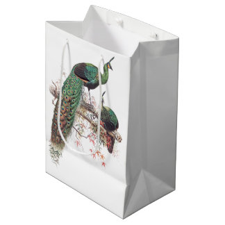 Vintage Peacock Birds Wildlife Animals Gift Bag