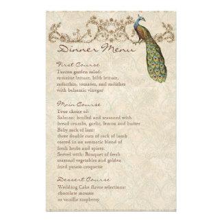Vintage Peacock Black, Dinner Menu Sheet Customised Stationery