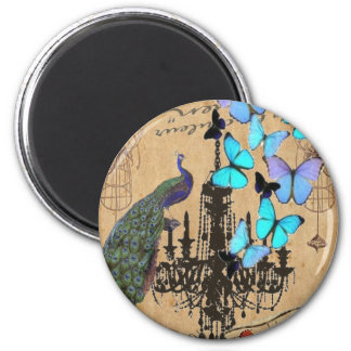 vintage peacock butterfly Paris fashion 6 Cm Round Magnet