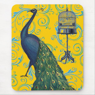 Vintage Peacock & Cage Mouse Pad