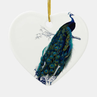 Vintage Peacock Ceramic Heart Decoration