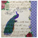Vintage Peacock Collage Cloth Napkin