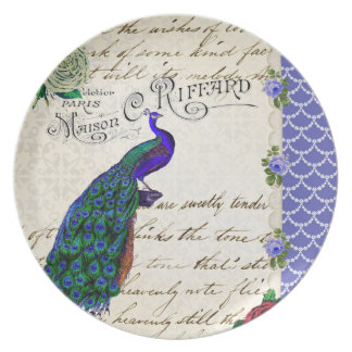 Vintage Peacock Collage Plate
