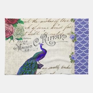 Vintage Peacock Collage Tea Towel