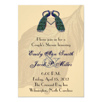 Vintage Peacock Couple's Shower Invitations
