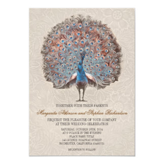 vintage peacock elegant wedding invitations