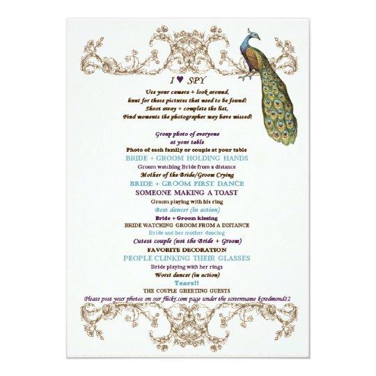 vintage peacock etching wedding game i spy white card zazzle co uk