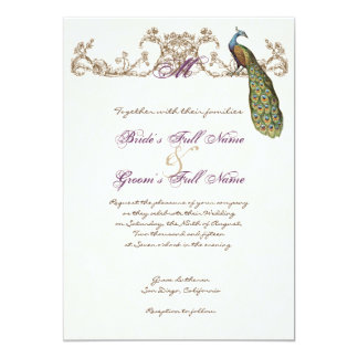 Vintage Peacock & Etching Wedding Invitation White