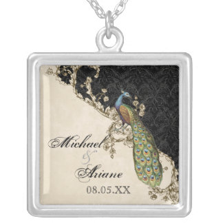 Vintage Peacock & Etchings Bride's Necklace