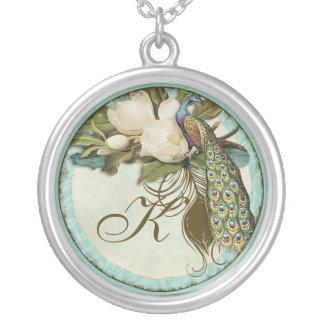 Vintage Peacock & Etchings Monogrammed Necklace